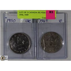 LOT OF 2 CANADIAN SILVER DOLLARS 1950, 1949