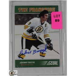 JOHN BUCYK AUTOGRAPHED BOSTON BRUINS CARD.