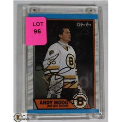 ANDY MOOG AUTOGRAPHED BOSTON BRUINS CARD.