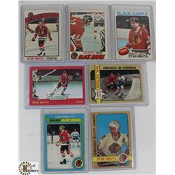 LOT OF SEVEN 1970S STAN MIKITA HOCKEY CARDS.
