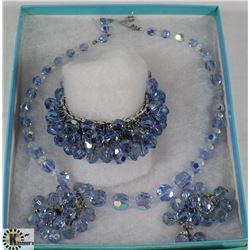 VINTAGE HEAVY IRIDESCENT BLUE BEADED NECKLACE,