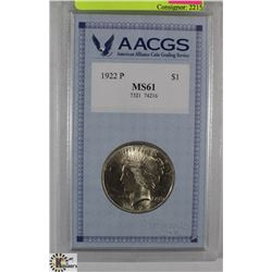 GRADED USA $1 COIN 1922-MS61 BY AACGS
