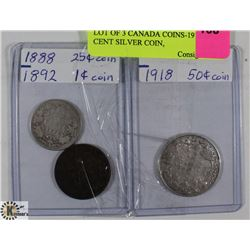 LOT OF 3 CANADIAN COINS-1918 50 CENT SILVER COIN,