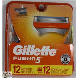 GILLETTE FUSION 5 RAZOR BLADES-12 CARTRIDGES