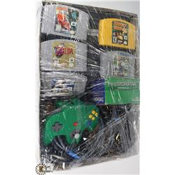 NINTENDO 64 WITH CONTROLLER, MEMORY CARD, TREMOR