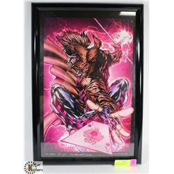 FRAMED GAMBIT PRINT, SIGNED HUGH ROOKWOOD