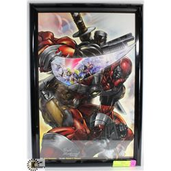 FRAMED DEADPOOL PRINT, SIGNED HUGH ROOKWOOD