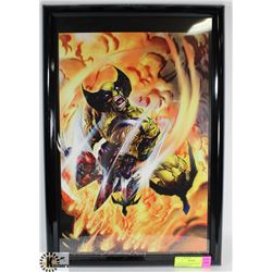 FRAMED WOLVERINE PRINT, SIGNED HUGH ROOKWOOD