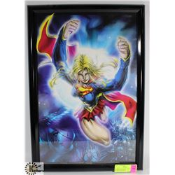 FRAMED SUPERGIRL PRINT, SIGNED HUGH ROOKWOOD