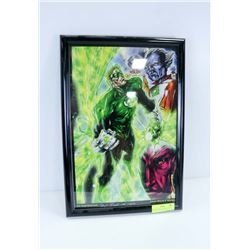 FRAMED GREEN LANTERN PRINT, SIGNED HUGH ROOKWOOD