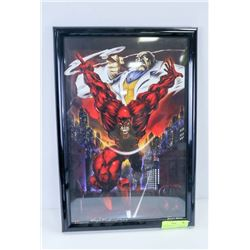 FRAMED DAREDEVIL PRINT, SIGNED HUGH ROOKWOOD