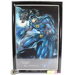 FRAMED BATMAN PRINT, SIGNED HUGH ROOKWOOD