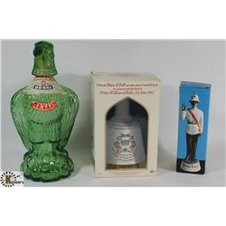 LOT OF COLLECTOR BOTTLES INCLUDES 1977 EAGLE,