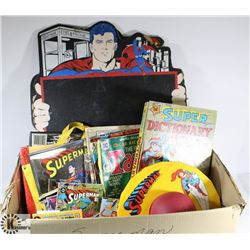 BOX OF ASSORTED VINTAGE SUPERHERO TOYS AND