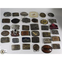 BOX OF ASSORTED BELT BUCKLES.