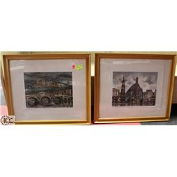 2 GERMAN PRINTS IN FRAMES