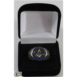 MENS SZ 13.5 SILVER TONED MASONIC RING, GOLD TONE