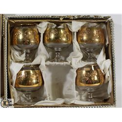 SET OF 5 BRANDY SNIFFER GLASSES WITH GOLD COLOR