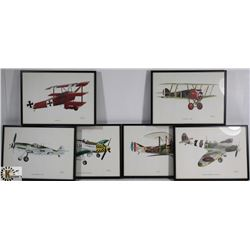 6 FRAMED PICTURES OF OLD WAR AIRCRAFT PAINTINGS