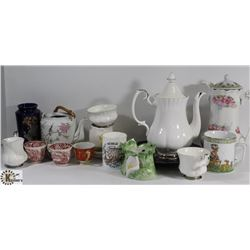 ASSORTED TEA AND COFFEE CUPS, TEA POTS AND SAUCERS
