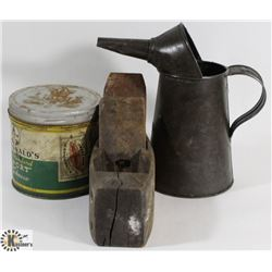 BOX WITH VINTAGE OIL CAN , CAN AND PLANE