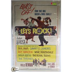ORIGINAL 1960S LETS ROCK MOVIE POSTER PAUL ANKA.