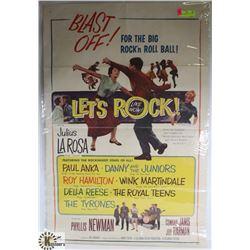 ORIGINAL 1960S LETS ROCK MOVIE POSTER PAUL ANKA.