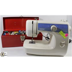 BROTHER SEWING MACHINE WITH TOOL BOX FILLED WITH
