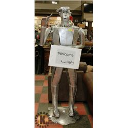 ARTISAN WELDED 6' METAL STATUE OF TIN MAN WITH