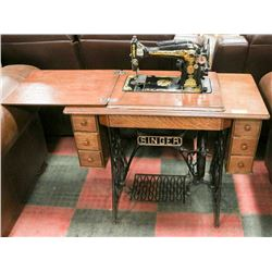 VINTAGE SINGER BELT-DRIVEN SEWING MACHINE IN