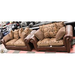 NEW BROWN LEATHERETTE AND FABRIC SOFA 84""