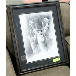 WOOD FRAMED DEER & DOE PICTURE SIGNED