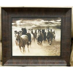 BROWN WOOD FRAMED WILD HORSES CANVAS
