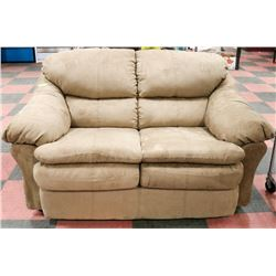 "LIGHT BROWN FABRIC 63"" LOVE SEAT"