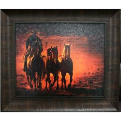 BROWN WOOD FRAMED COWBOY W/2 WILD