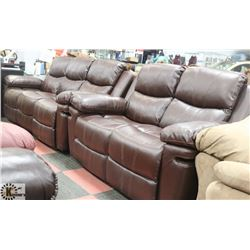 "NEW NORWICH BROWN LEATHERETTE RECLINING 77"" SOFA"
