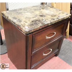 "FAUX MARBLE 2 DRAWER NIGHT STAND, 23.5""X16""X25.5""."