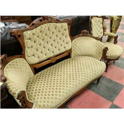 "VINTAGE EDWARDIAN 60.5"" LOVE SEAT AND 29"" CHAIR"