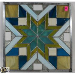 """STAIN GLASS STYLE PANE, 14.5""""X14.5""""."""