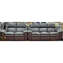 "NEW BROWN LEATHERETTE RECLINING 2 PC 86"" SOFA WITH"