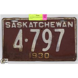 1930 SASKATCHEWAN LICENSE PLATE.