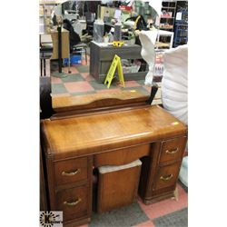 1950'S WOOD ANTIQUE VANITY WITH MIRROR AND STOOL