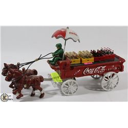 VINTAGE CAST IRON HORSE DRAWN COCA-COLA WAGON.