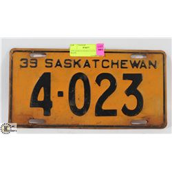 1939 SASKATCHEWAN LICENSE PLATE.