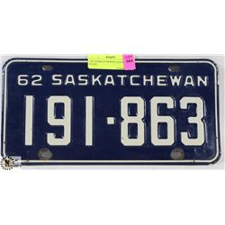1962 SASKATCHEWAN LICENSE PLATE.