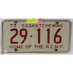 1973 SASKATCHEWAN HOME OF THE RCMP LICENSE PLATE