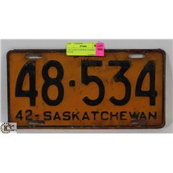 1942 SASKATCHEWAN LICENSE PLATE.