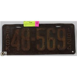 1924 SASKATCHEWAN LICENSE PLATE.
