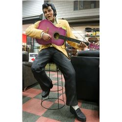 6FT ELVIS ON A STOOL WITH GUITAR.