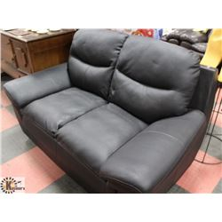"BLACK LEATHERETTE 63"" LOVE SEAT."